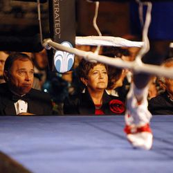 Utah Gov. Gary Herbert, left, watches an undercard fight with his wife Jeanette during the Charity Vision Fight Night event in Salt Lake City, Friday, May 15, 2015.