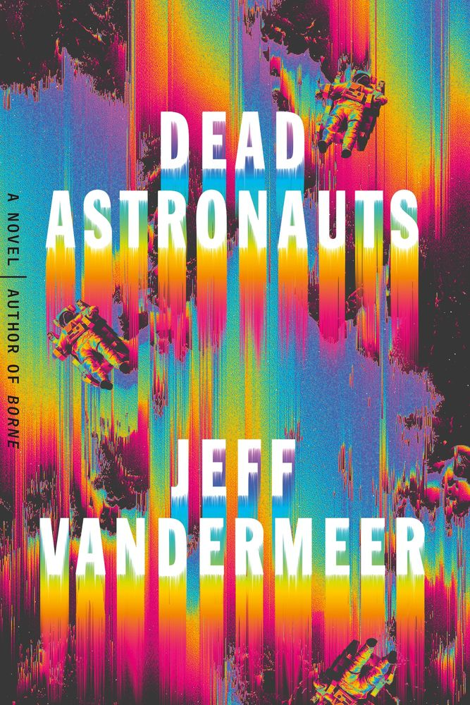 dead astronauts cover  with three astronauts falling down a waterfall of color