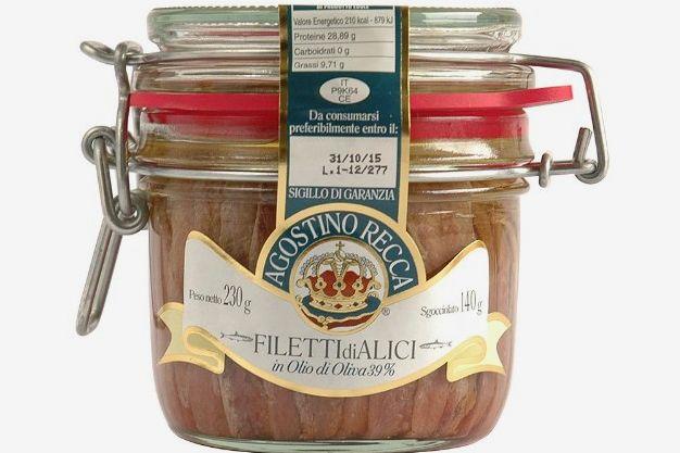 A jar of Agostino Recca anchovies