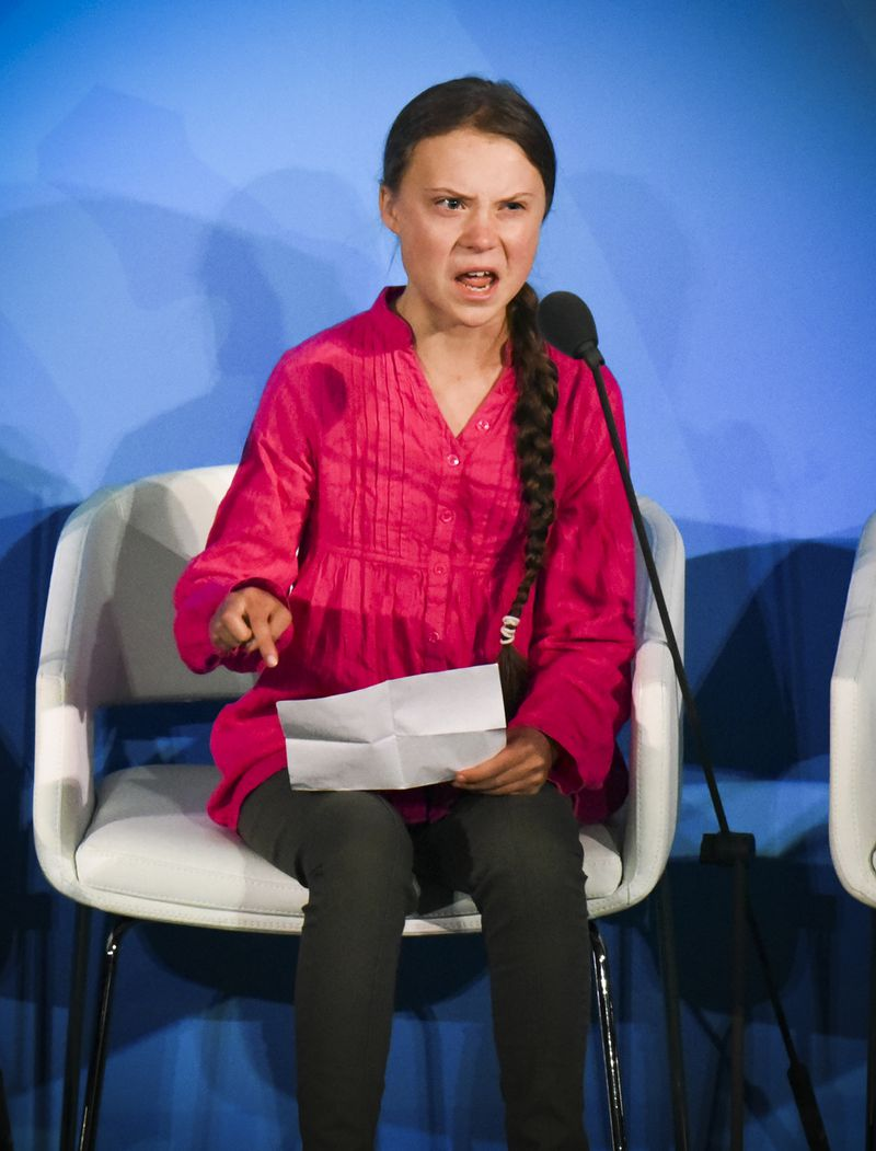 Climate activist Greta Thunberg scolding world leaders during the UN Climate Action Summit.