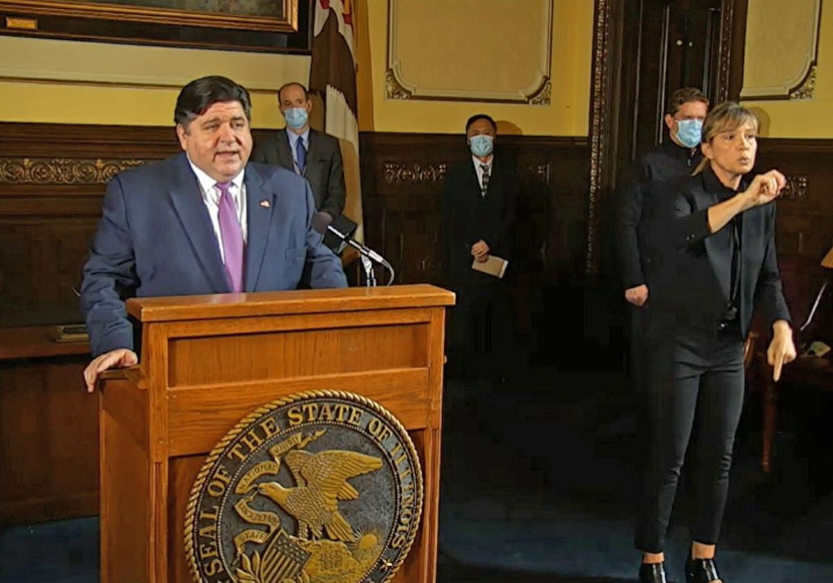 Illinois Gov. J.B. Pritzker speaks Wednesday during one of his regular updates on the pandemic's impact on the state.