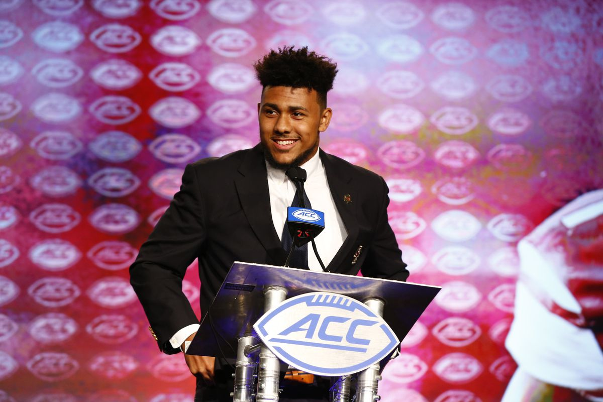 CHARLOTTE, NC:  Boston College Eagles defensive end Harold Landry speaks to the media during the ACC Kickoff at the Westin Charlotte.