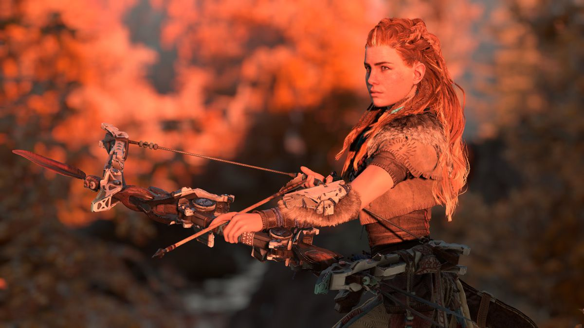 Horizon Zero Dawn - Aloy nocking an arrow