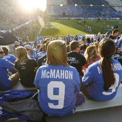 Brigham Young Cougars fans wear their Jim McMahon shirts prior to the game in Provo Friday, Oct. 3, 2014.