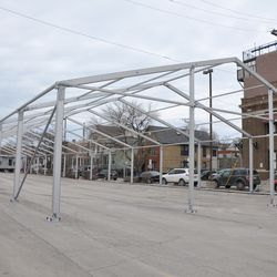 The tent structure in the Blue Lot, looking north -
