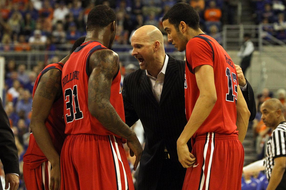 Andy Kennedy exhorts the Rebel roundballers to victory (via USA Today Sports)
