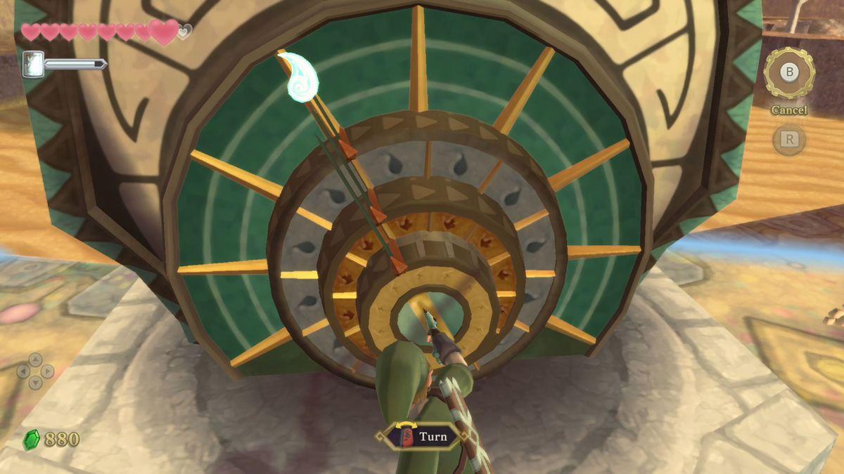 Link turns a gear in The Legend of Zelda: Skyward Sword HD