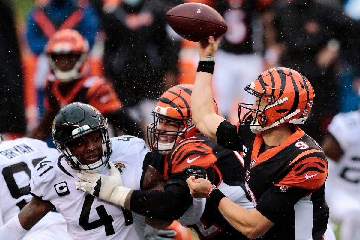 Cincinnati Bengals quarterback Joe Burrow (9) throws a pass in the fourth quarter of the NFL Week 4 game between the Cincinnati Bengals and the Jacksonville Jaguars at Paul Brown Stadium in downtown Cincinnati on Sunday, Oct. 4, 2020.