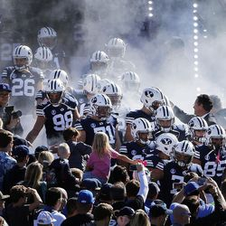 Brigham Young Cougars football players enter the stadium before NCAA football against the San Jose State Spartans in Provo on Saturday, Oct. 28, 2017.
