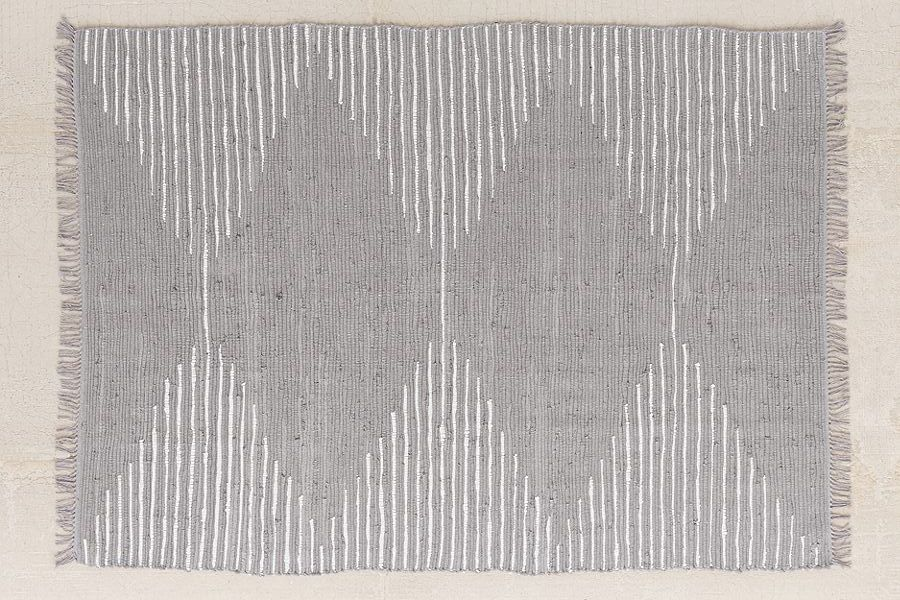 A gray and white patterned rug.