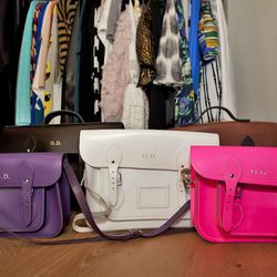 """Cambridge Satchel Company bags, $150-$220. """"These are great for grabbing and going. I get them customized."""""""