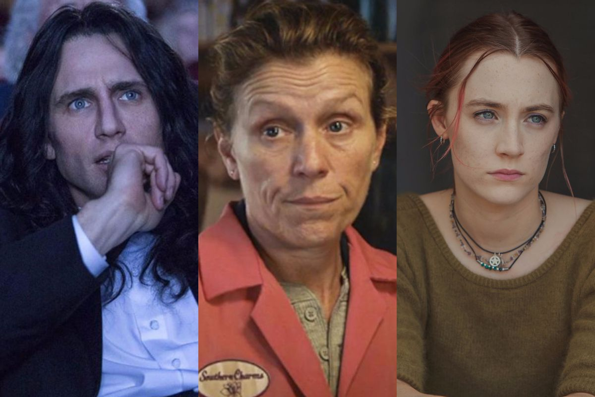 James Franco in The Disaster Artist, Frances McDormand in Three Billboards Outside Ebbing, Missouri, and Saoirse Ronan in Lady Bird