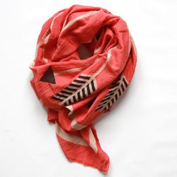 """<b>Block Shop Textiles</b> produces scarves in India using hand-carved wooden blocks and non-toxic dyes, <a href=""""http://www.blockshoptextiles.com/products/arrows-coral"""">$120</a>"""