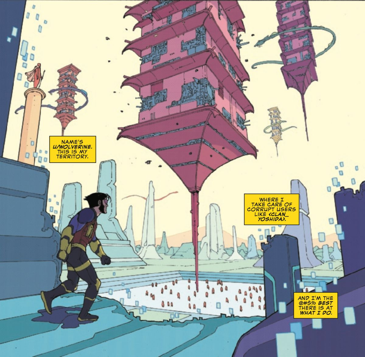 The virtual persona of u/Wolverine, of the exe-Men, in a Japanese-inspired location on the virtual Exe/scape, in Marvel Comics Presents: Wolverine #9, Marvel Comics (2019).