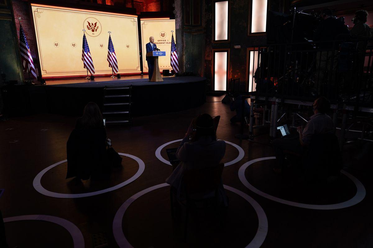 President-elect Joe Biden speaks at The Queen theater Wednesday, Nov. 25, 2020, in Wilmington, Del.