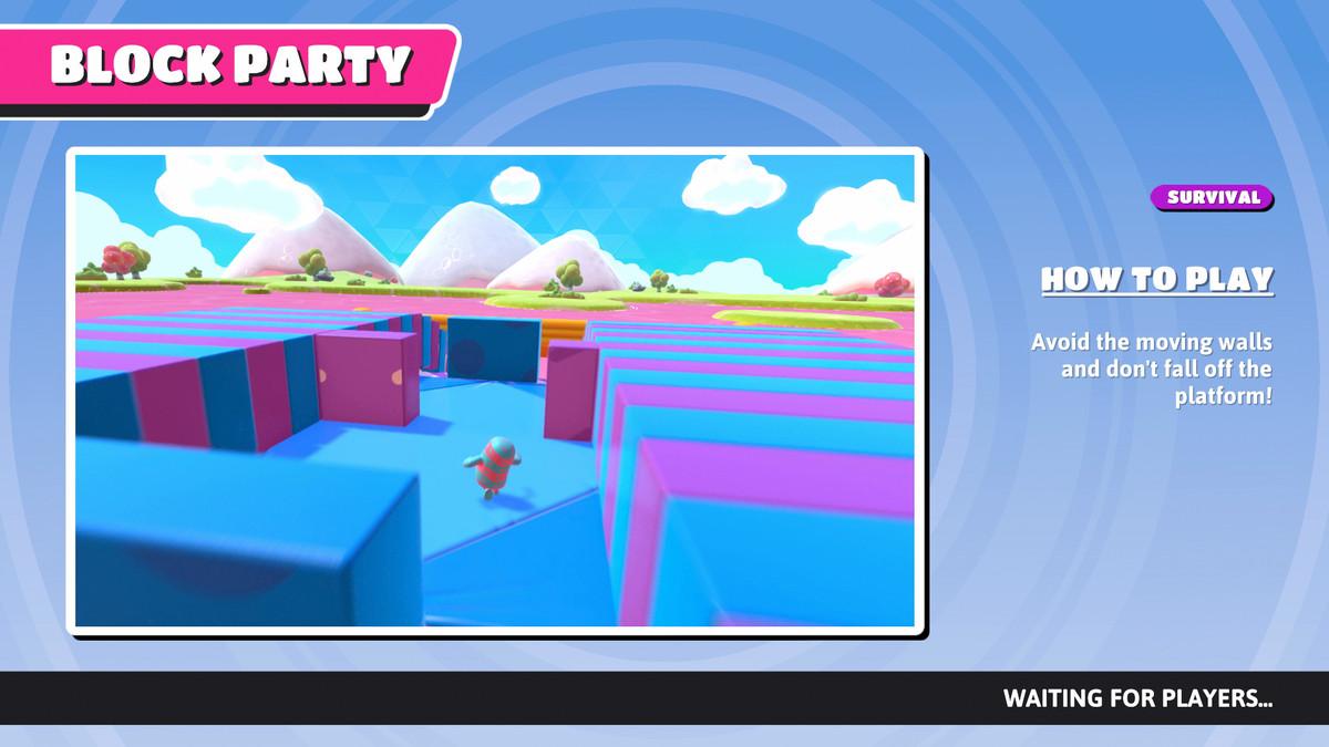 L'écran d'informations Block Party dans Fall Guys