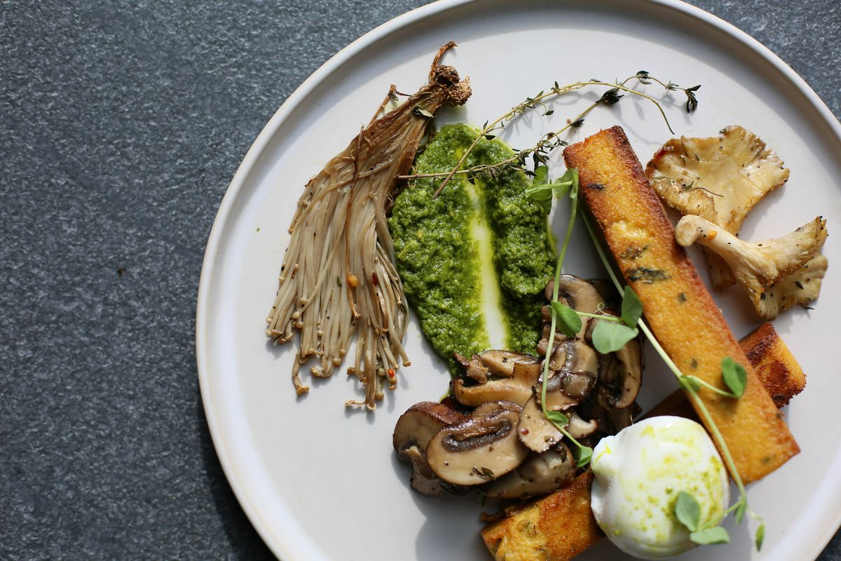 Fried polenta and mushrooms, plus roast broccoli pesto and a soft-boiled egg