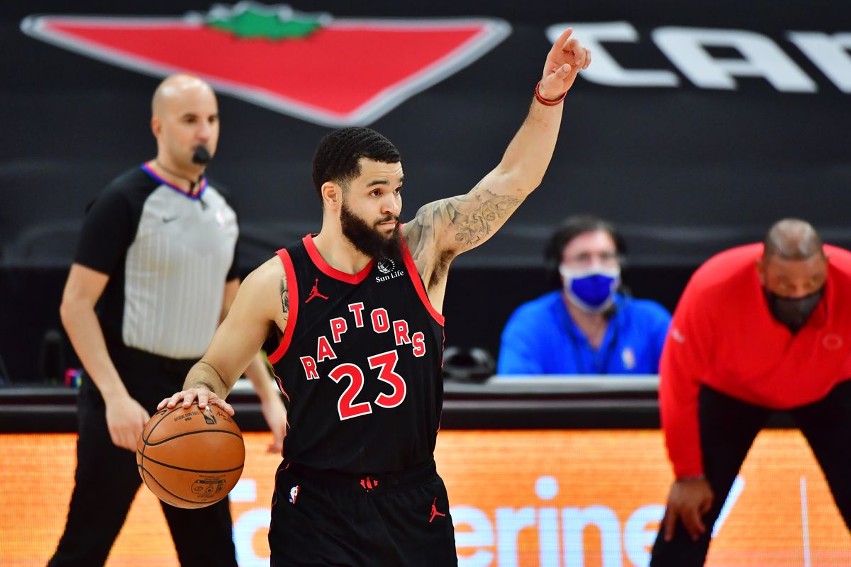 Fred VanVleet #23 of the Toronto Raptors gestures during the second half against the Philadelphia 76ers at Amalie Arena on February 23, 2021 in Tampa, Florida.