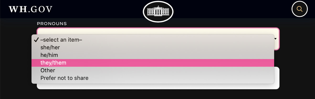 Dropdown menu on the White House contact page that allows the user to select their pronouns.