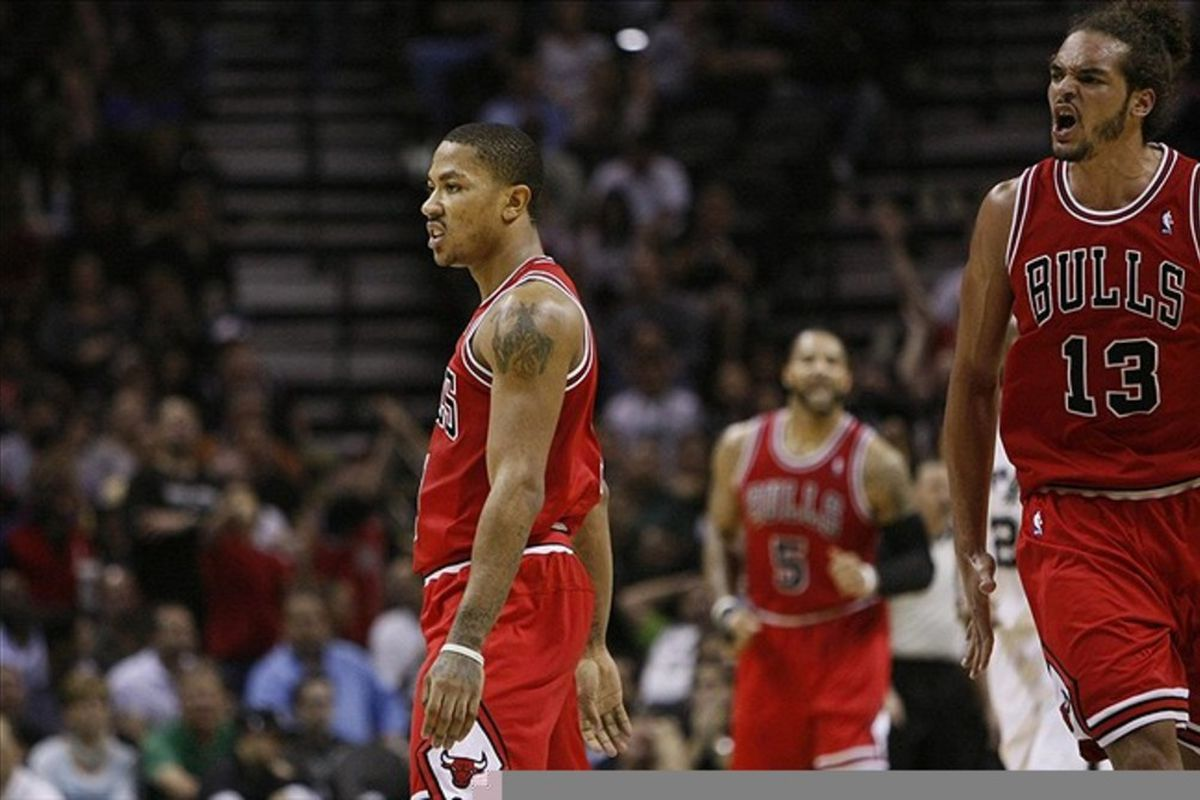 Feb 29, 2012; San Antonio, TX, USA; Chicago Bulls guard Derrick Rose (1) reacts after a shot against the San Antonio Spurs during the first half at the AT&T Center. Mandatory Credit: Soobum Im-US PRESSWIRE
