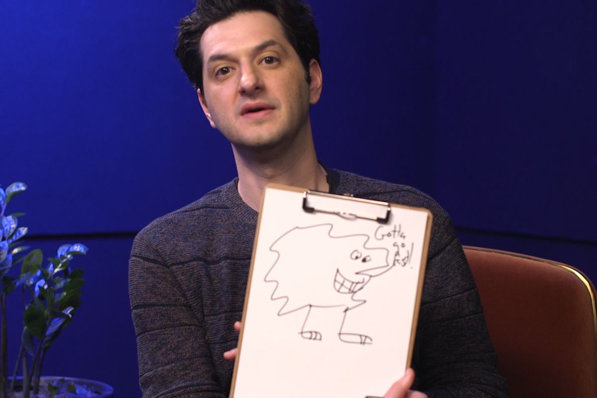 Ben Schwartz, voice of Sonic the Hedgehog in the 2020 movie, shows us a clipboard with his Sonic fan art