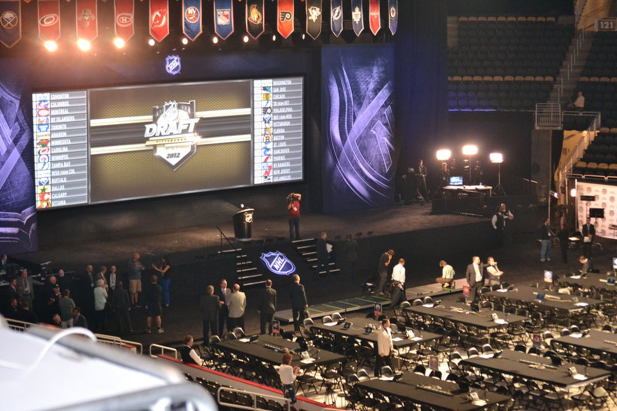 June 22, 2012. Philadelphia, PA. Preparations under way for the 2012 NHL Entry Draft. And look! The Avs even have a table. (Photo by Matt Wagner/SB Nation.)