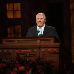 Elder Ronald A. Rasband, a member of the Quorum of the Twelve Apostles, speaks during the Saturday morning session of the 190th Semiannual General Conference of The Church of Jesus Christ of Latter-day Saints on Oct. 3, 2020.