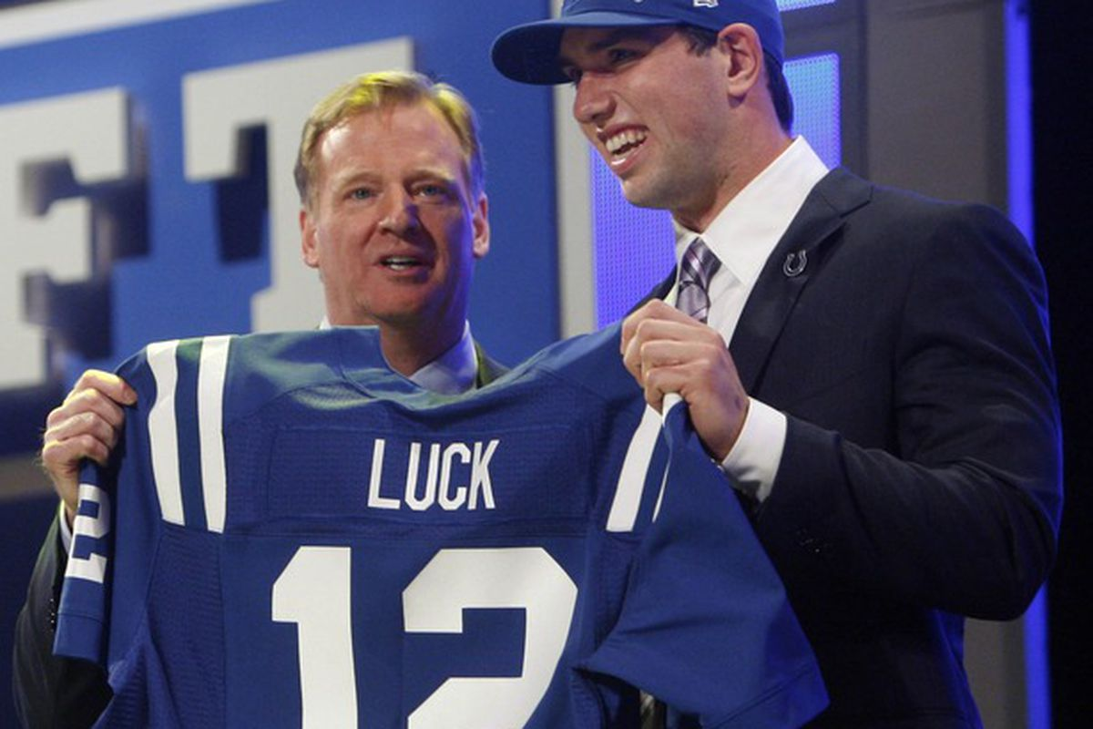 Apr 26, 2012; New York, NY, USA; NFL commissioner Roger Goodell introduces Andrew Luck (Stanford) as the number one overall pick to the Indianapolis Colts in the 2012 NFL Draft at Radio City Music Hall. Mandatory Credit: Jerry Lai-US PRESSWIRE