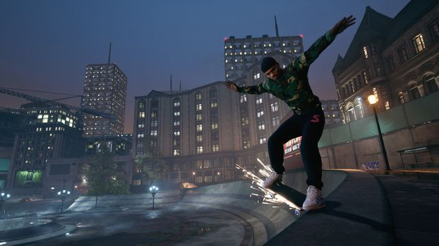 Leo Baker grinds along a quarter pipe lip in Tony Hawk's Pro Skater 1 and 2