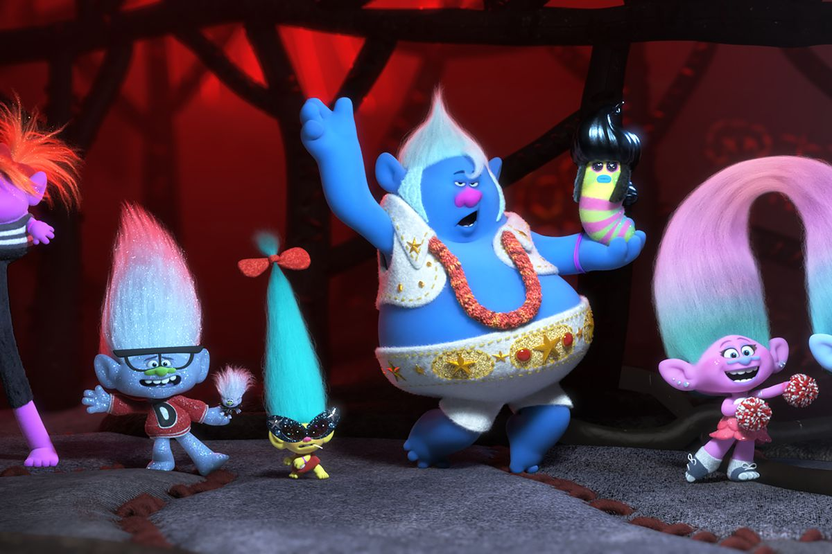 (from left) Legsly (Ester Dean), Guy Diamond (Kunal Nayyar), Tiny Diamond (Kenan Thompson), Smidge (Walt Dohrn), Biggie (James Corden), Mr. Dinkles (Kevin Michael Richardson), Satin (Aino Jawo) and Chenille (Caroline Hjelt) in DreamWorks Animation's Trolls World Tour, directed by Walt Dohrn.