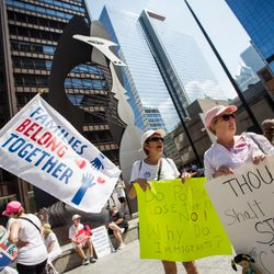 """A """"Families Belong Together"""" march was held last month in Chicago. It started in Daley Plaza.   James Foster/For the Sun-Times"""
