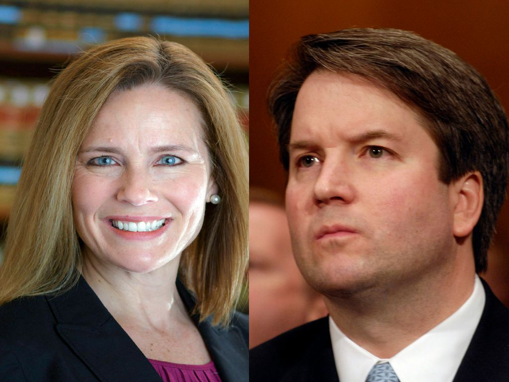 Amy Coney Barrett and Washington insider Brett Kavanaugh, top contenders for the upcoming vacancy on the U.S. Supreme Court. Both are federal appeals court judges.   AP Photos