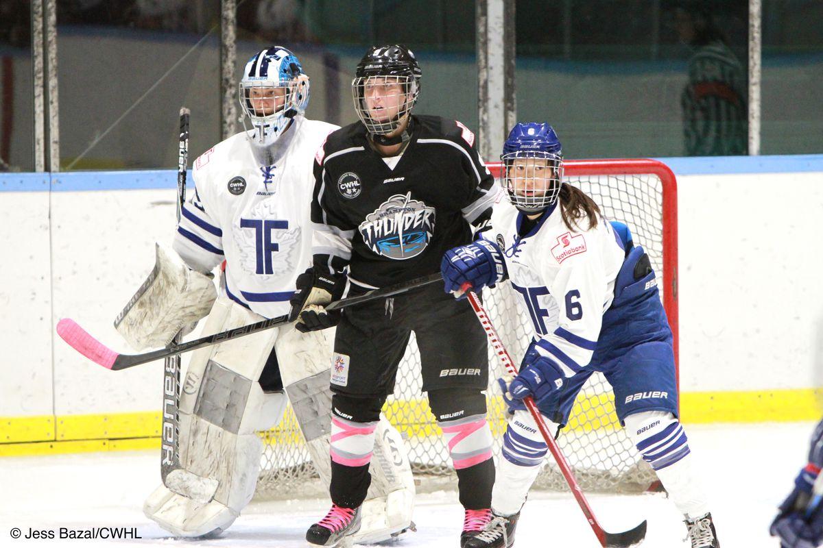 Christina Kessler standing in goal next to a Thunder player and defender Sena Suzuki