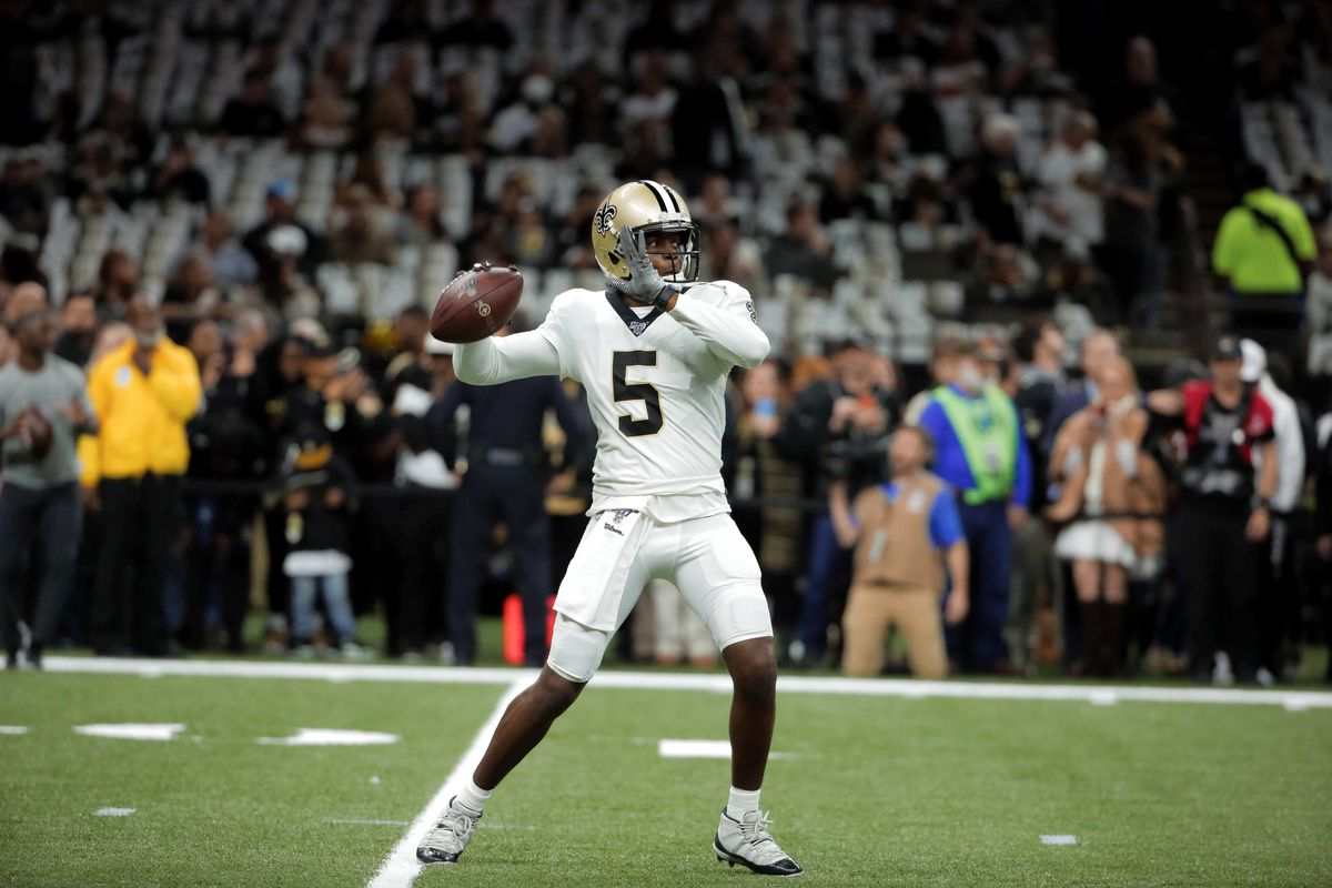 New Orleans Saints quarterback Teddy Bridgewater before kickoff of a NFC Wild Card playoff football game against the Minnesota Vikings at the Mercedes-Benz Superdome.