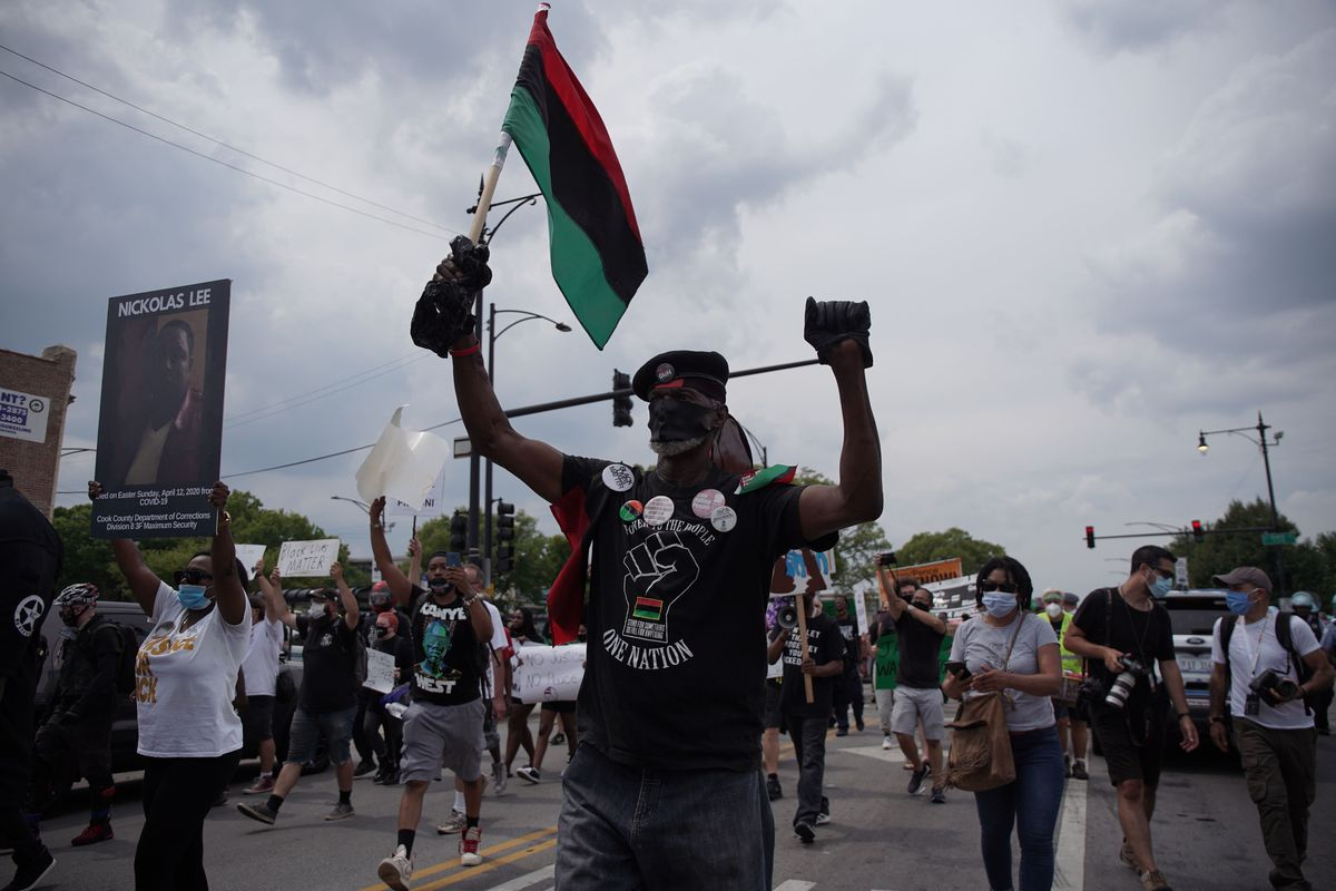 Anti-police brutality protesters march Saturday in Bronzeville.