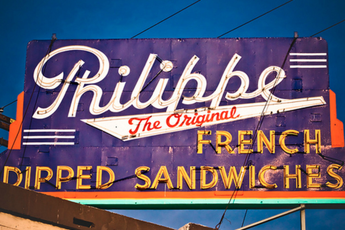 Outside Philippe's French Dip, Downtown.