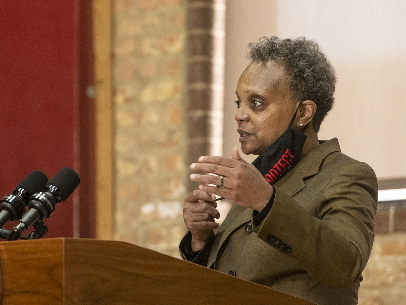 Mayor Lori Lightfoot speaks to reporters on Monday, April 5, 2021 during a press conference with updates to the Adam Toledo shooting at New Life Church in Little Village.