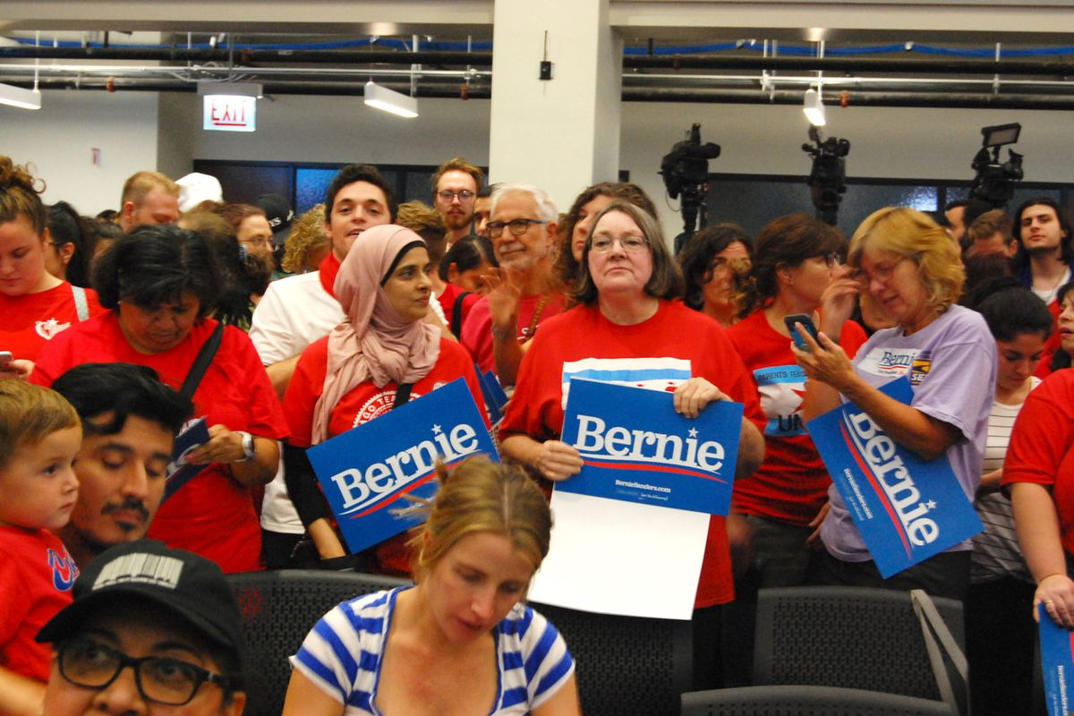 Hundreds of teachers, school support staff and other union members gathered Tuesday night to see Sen. Bernie Sanders speak at a union rally.