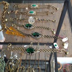 Emerald stone bracelet, $45