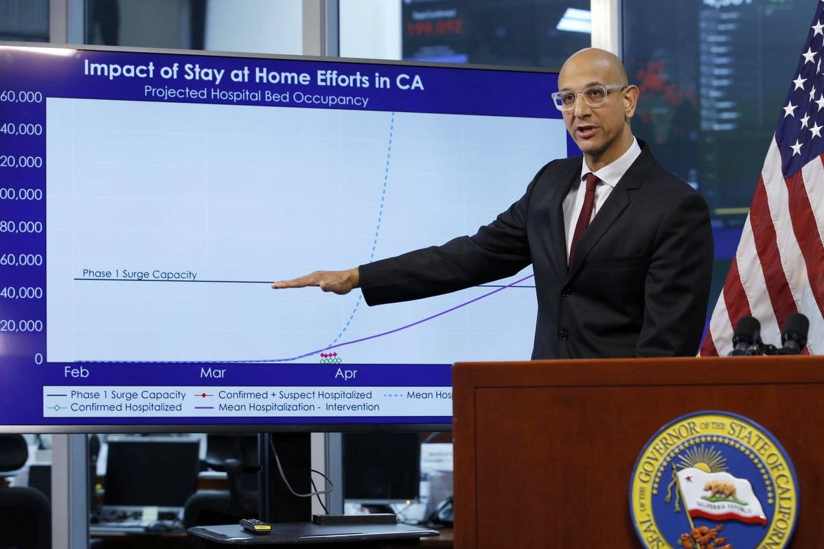 In this April 1, 2020, file photo Dr. Mark Ghaly, secretary of the California Health and Human Services, gestures to a chart showing the impact of the mandatory stay-at-home orders, during a news conference in Rancho Cordova, Calif.