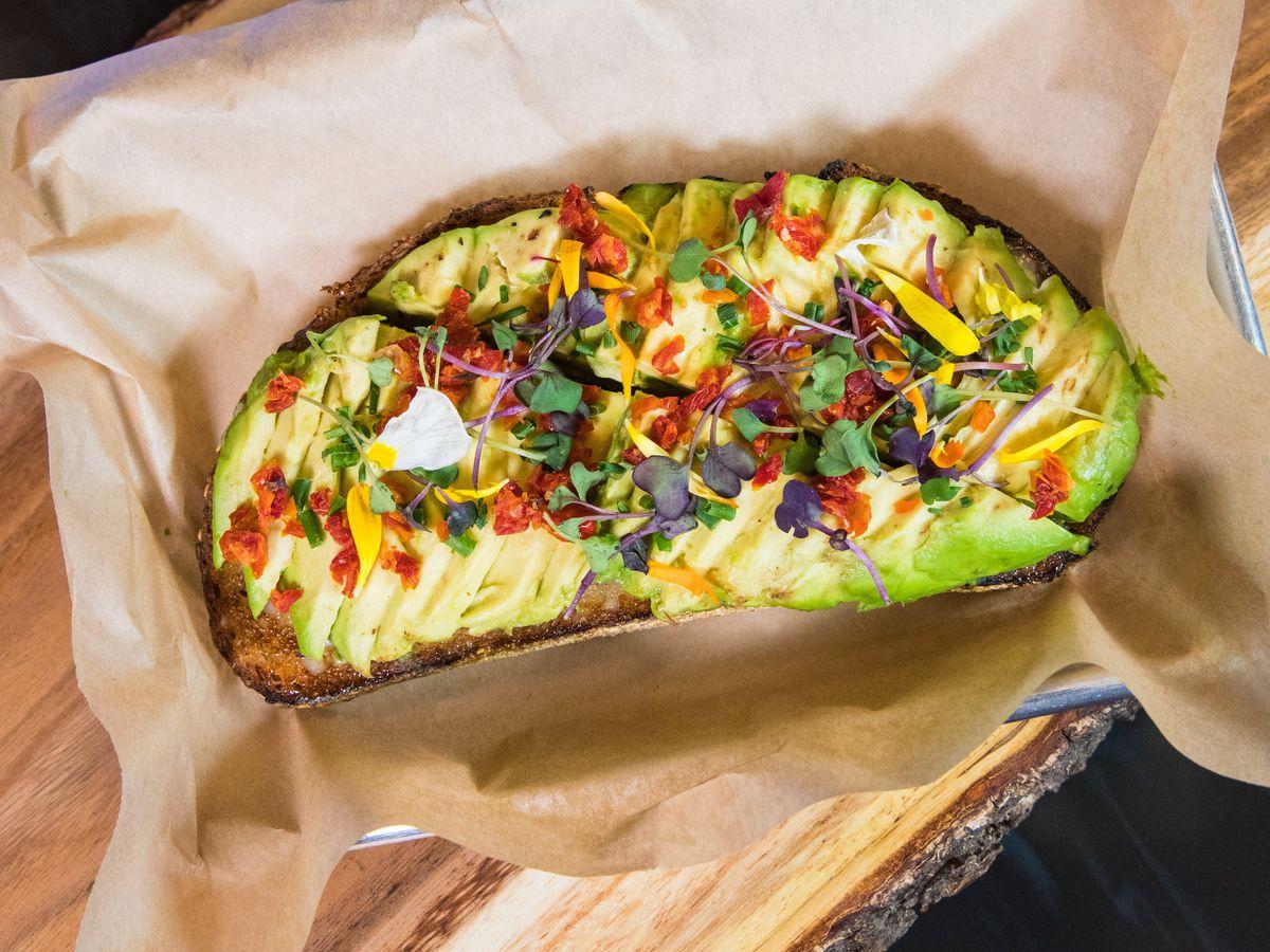 Avocado toast on a tray