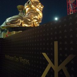 The MGM Grand Lion behind the Hakkasan construction barrier.