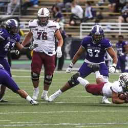 Southern Illinois running back Romeir (1) dives with the ball at Stewart Stadium in Ogden on Saturday, April 24, 2021.