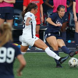 UConn's Isabelle Lynch #22 during the New Hampshire Wildcats vs the UConn Huskies exhibition women's college soccer game at Morrone Stadium at Rizza Performance Center in Storrs, CT, on Saturday August 14, 2021.