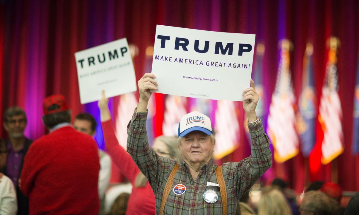 Donald Trump Campaigns In Wichita, Kansas On Day Of State's Caucus