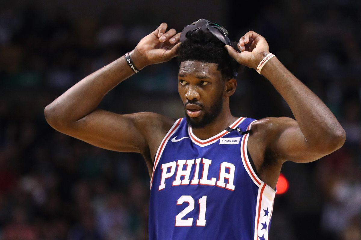 Joel Embiid looking disappointed