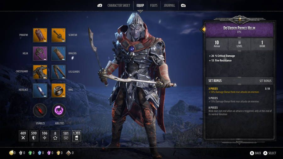 The character equipment screen in Dungeons & Dragons: Dark Alliance