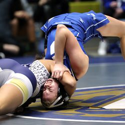 Celeste Detoles of Westlake tries to pin Bryton Moore of Pleasant Grove as they wrestle in class 120 as girls compete for the 6A State Wrestling championship at West Lake High in Saratoga Springs on Monday, Feb. 15, 2021.