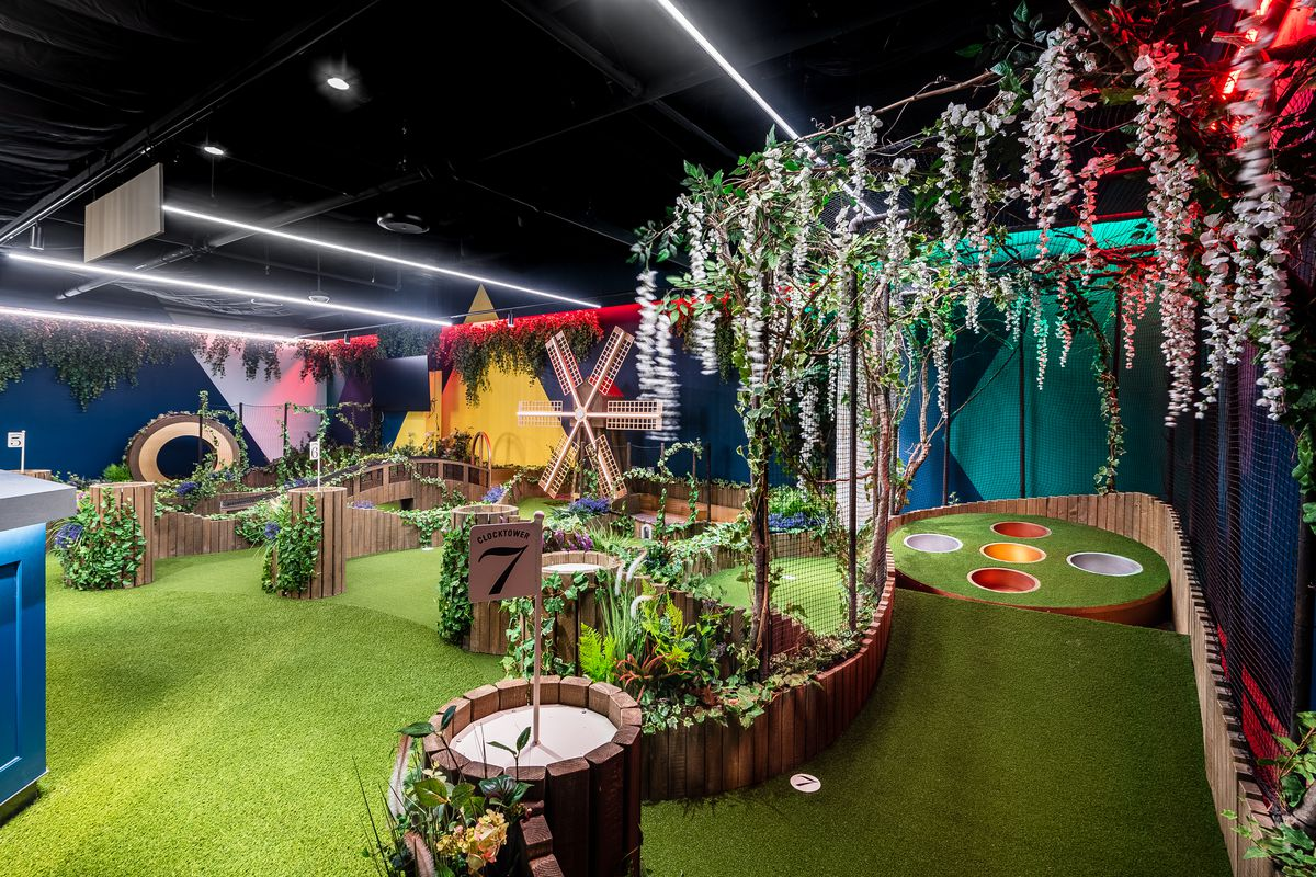 A mini-golf hole at the Swingers complex in Dupont