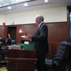 Sen. Bert Stedman speaks during the floor debate on a bill intended to encourage new oil production on Saturday, April 14, 2012, in Juneau, Alaska. The Alaska Senate passed a version of HB276 Saturday. Stedman voted with the majority in support of the bill.